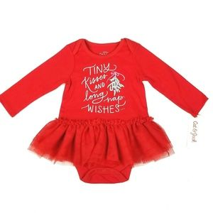 Cat and Jack Christmas Skirted Bodysuit Red